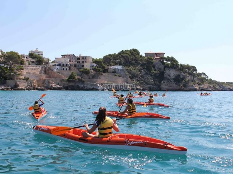 Trainees with kayaks in the sea