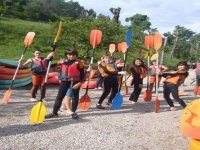 Students with paddles
