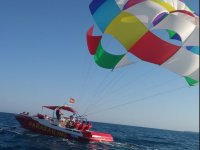 Boat and parascending in the Mar Menor