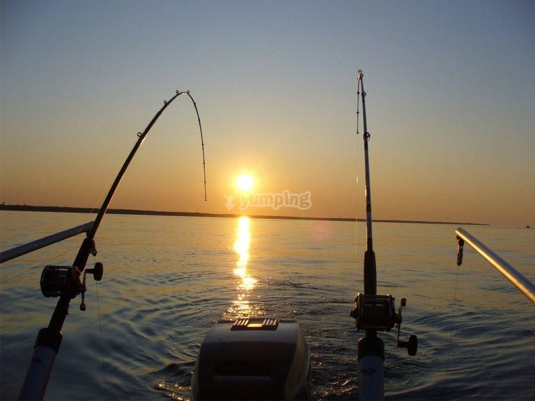 Practicando la pesca al curricán