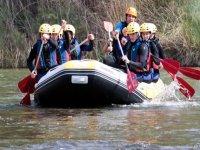 Rowing on a raft rafting