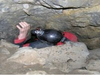 In the narrow crevasse