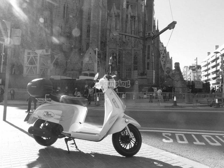 Scooter near the Sagrada Familia