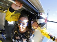 A girl about to jump with an instructor