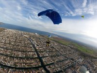 Open parachutes with a residential area in the background