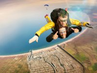 Skydiving over the beautiful coast