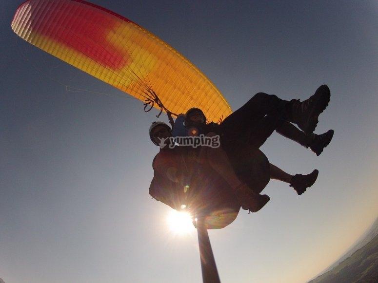 Having fun paragliding