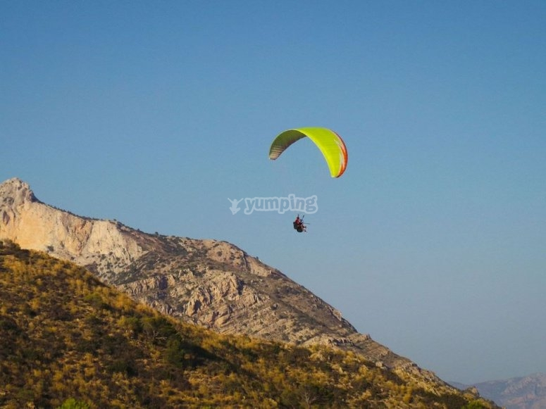 Enjoying a paragliding flight
