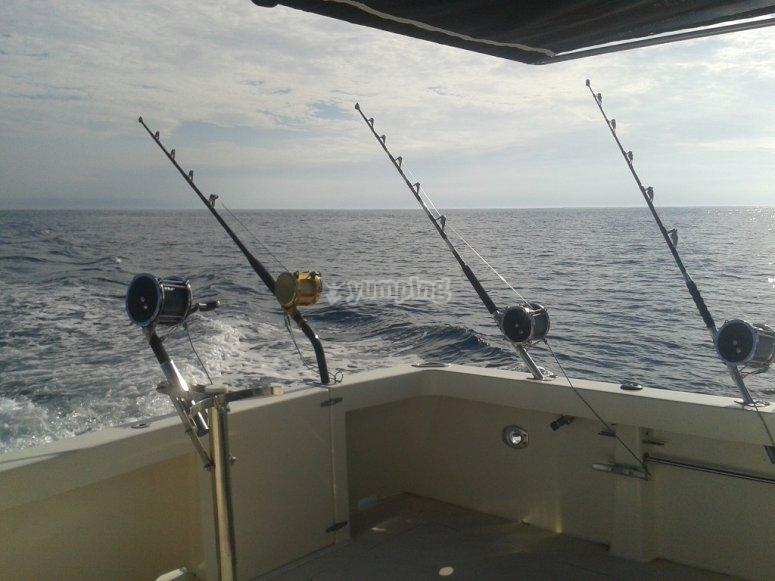 Pesca con cana en barco