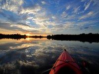 Canoe in reservoir