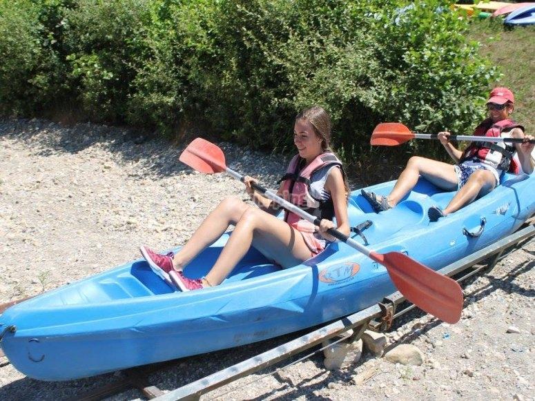 Kayak in the natural slide