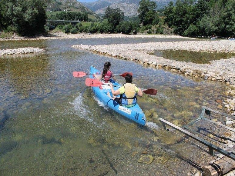 Natural slide to enter the river