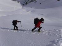 Skiers climbing the Pineta