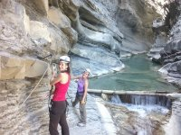 Hooking on the ferrata on the river