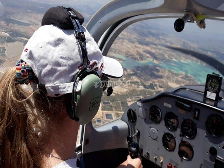 Light aircraft flight across beaches of Torrevieja