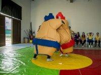Luchadores de sumo en el tatami de colores