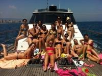 sunbathing in the boat