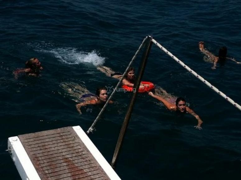 Nadando en el agua
