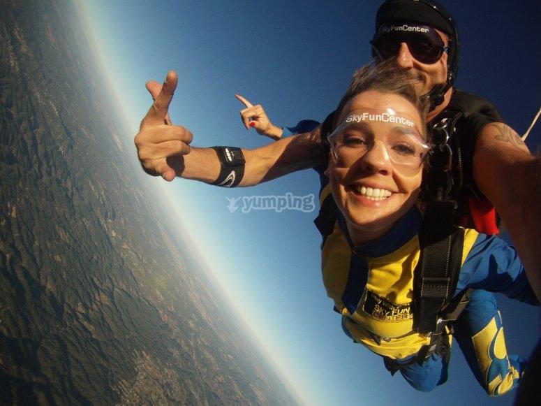 Parachute jump close to Galicia
