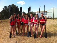 Bachelorette party with oars