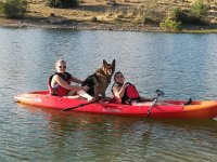 In the canoe with the German shepherd