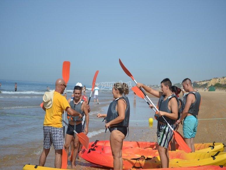 皮划艇在Islantilla海滩
