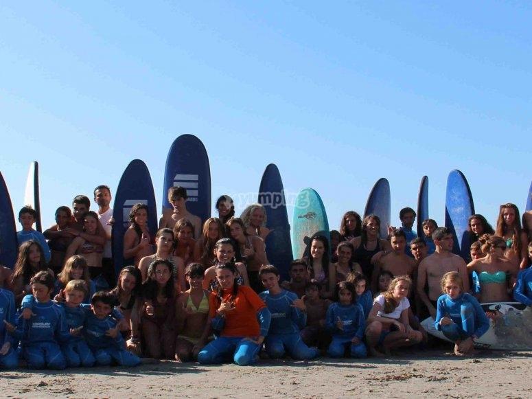 Surf camp participants