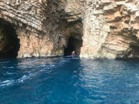Leaving the cave on a jet ski