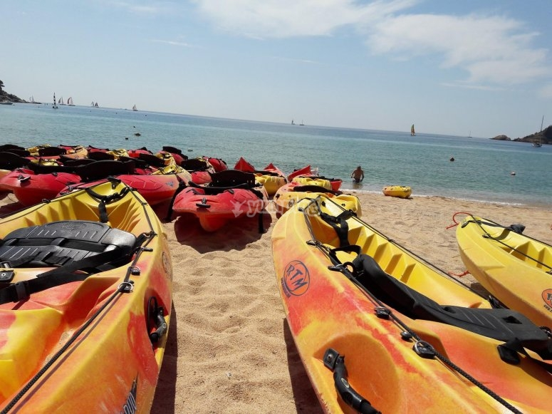 Kayaks in the sand