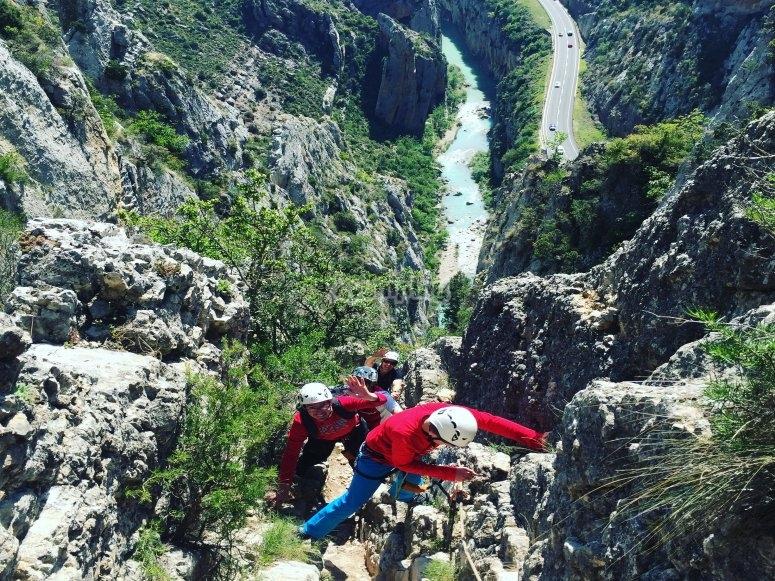 Ascent via via ferrata de Huesca