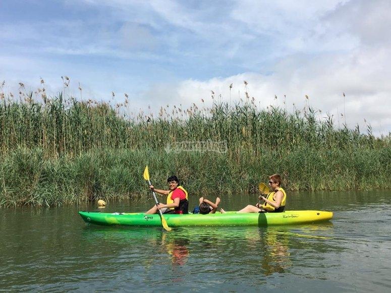 Kayak biplaza en el Ebro