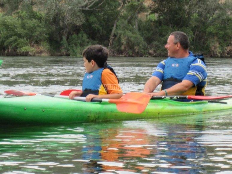 Kayaking in family