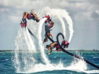 Practicing Flyboard with colleagues