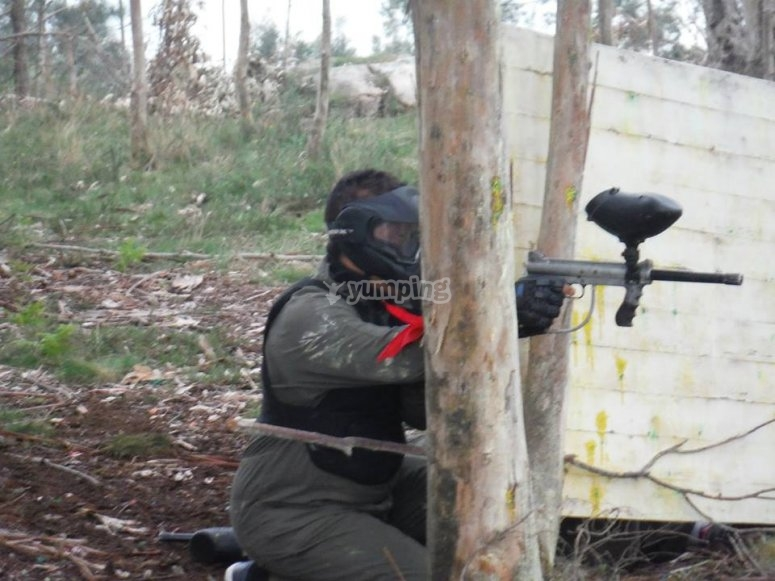 Covering behind the tree paintball in Zapateira