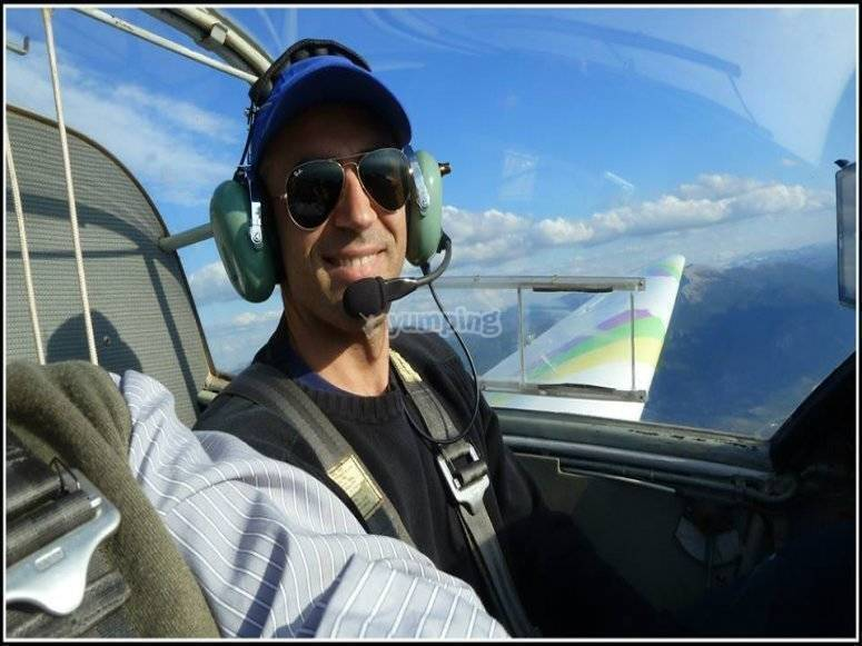 Pilotando el motovelero por los cielos de Jaén