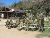 Soldiers resting in the picnic area