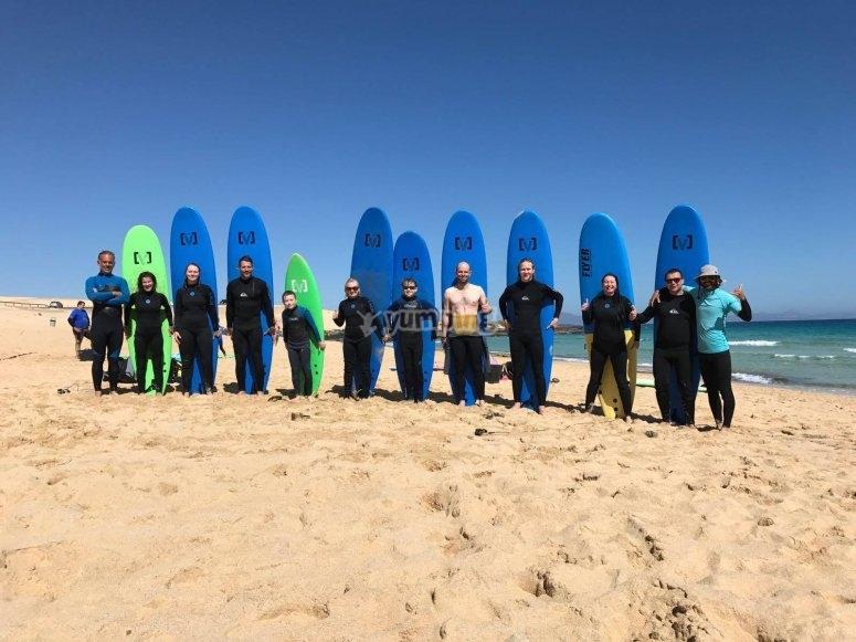 El grupo en Playa Blanca