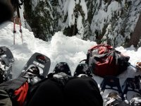 Looking down with snowshoes