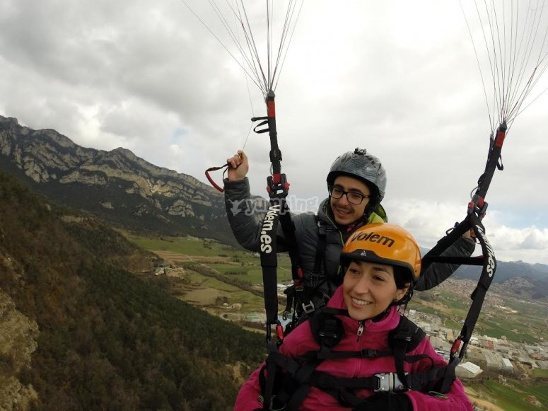 Viewing the landscape from the paraglide