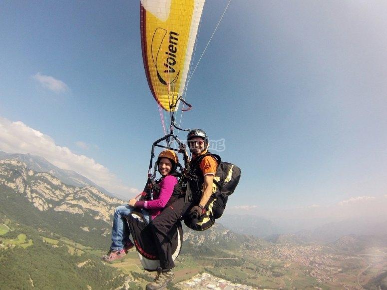Flying over the mountain range