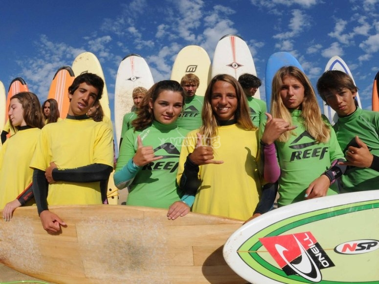 Surfing students