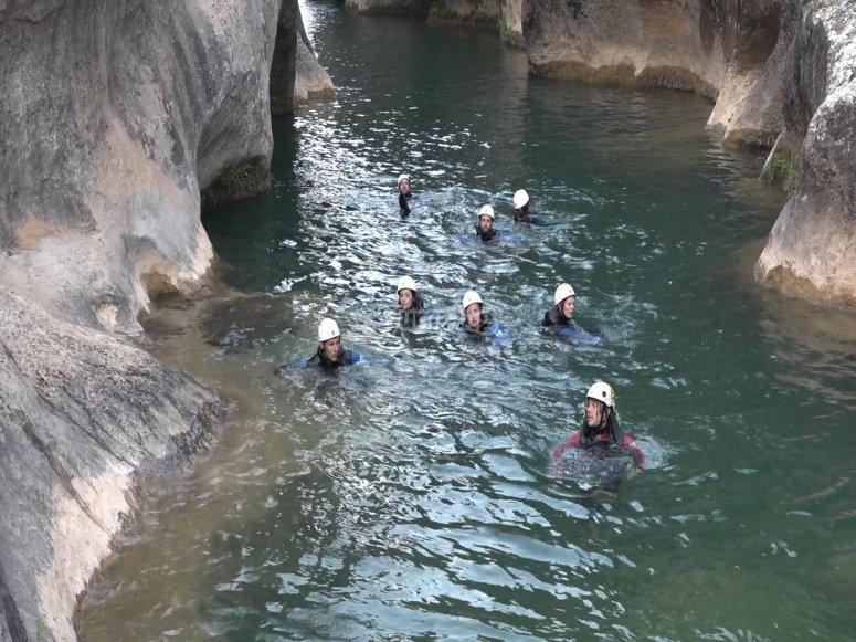 Canyoning descent in Ventano del Diablo