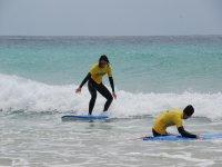 Probando el surf