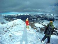 preparados para hacer snowboard