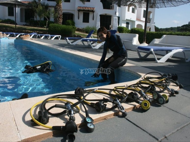 With the equipment in the pool
