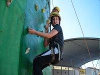 Children climbing the climbing wall