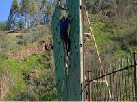 Climbing on the climbing wall