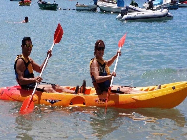 Sailing in kayak