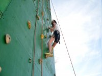 Going down the climbing wall