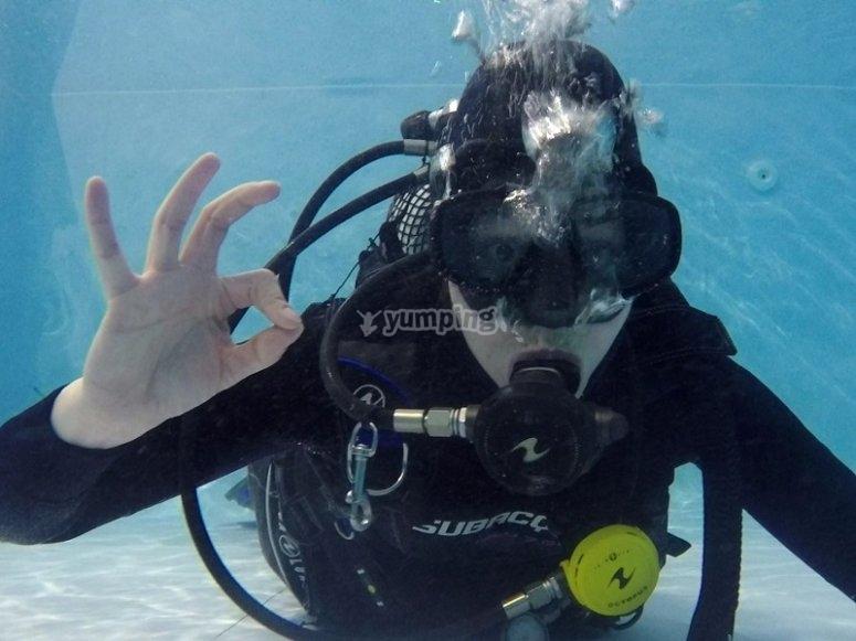 Scuba diver in moat of Fuenlabrada